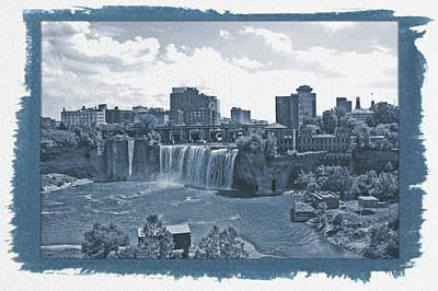 Photograph - Painted Cyanotype High Falls by Aimee L Maher ALM GALLERY