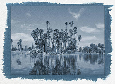 Photograph - Painted Cyanotype Palm Tree Reflections by Aimee L Maher Photography and Art Visit ALMGallerydotcom