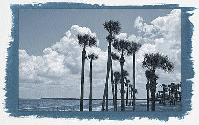 Curated Travel Chargers - Painted Cyanotype Palms Blowing by Aimee L Maher ALM GALLERY