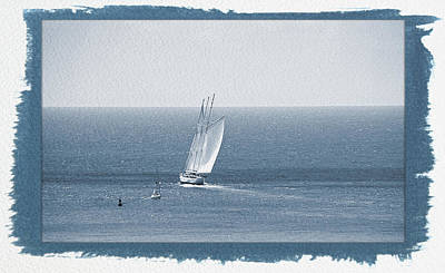 Photograph - Painted Cyanotype Sail The Ocean Blue by Aimee L Maher ALM GALLERY