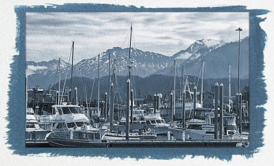 Photograph - Painted Cyanotype Seward Alaska 2 by Aimee L Maher ALM GALLERY