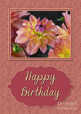 Digital Art - Painted Dahlia Birthday by JH Designs
