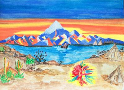 Art Print featuring the painting Painted Desert              by Connie Valasco