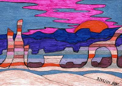 Desert Sunset Drawing - Painted Desert At Sunset by Briah L Ryan
