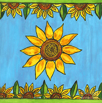 Painting - Painted Design With Sunflowers by Irina Afonskaya