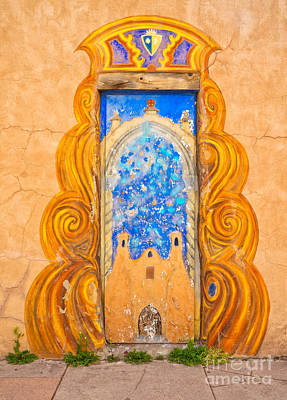 Ristra Digital Art - Painted Door Taos by Jerry Fornarotto