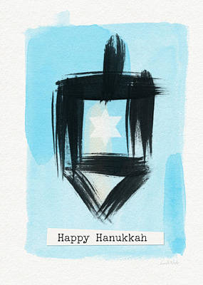 Modern Jewish Painting - Painted Dreidel Happy Hanukkah- Design By Linda Woods by Linda Woods