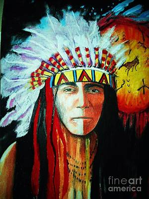 Painted Warrior Mixed Media - Painted Face Warrior by Lynda Clark