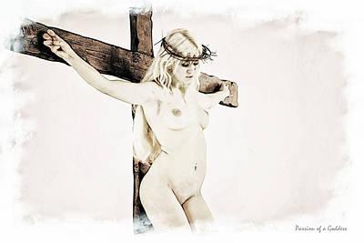 Crown Of Thorns Digital Art - Painted Female Crucifix X by Ramon Martinez