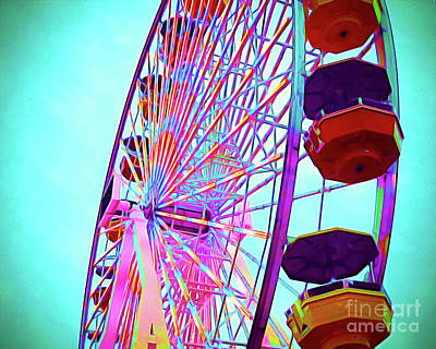 Santa Monica Mixed Media - Painted Ferris Wheel by Chris Andruskiewicz