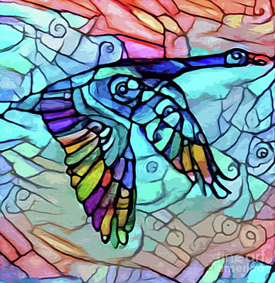 Digital Art - Painted Goose Like Stained Glass by Nina Silver