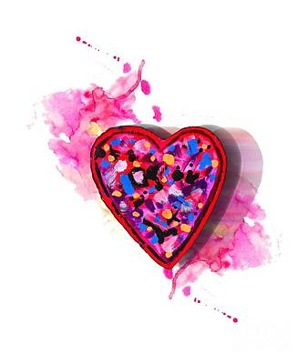 Digital Art - Painted Heart by Christine Perry