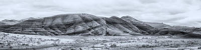 Photograph - Painted Hills Panorama Bw by Belinda Greb