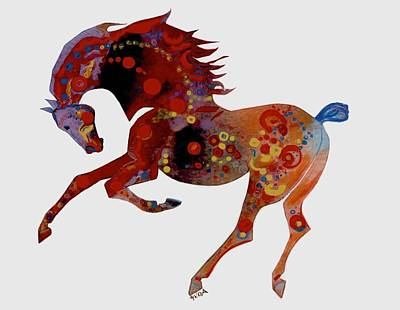 Mixed Media - Painted Horse 3 by Mary Armstrong