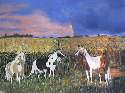 Pinto Painting - Painted Horses by Aleta Parks
