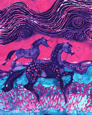 Painted Horses Below The Wind Art Print