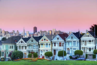 Houses Photograph - Painted Ladies At Dusk by Photo by Jim Boud