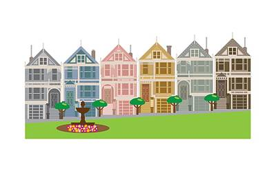 Photograph - Painted Ladies Row Houses In San Francisco Illustration by Jit Lim