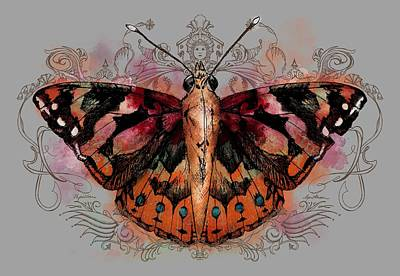 Red Ribbon Digital Art - Painted Lady II by April Moen
