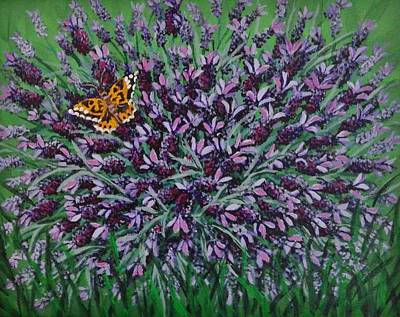 Painting - Painted Lady On Spanish Lavender by Katherine Young-Beck