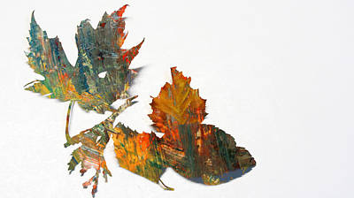 Photograph - Painted Leaves Abstract 1 by Anita Burgermeister