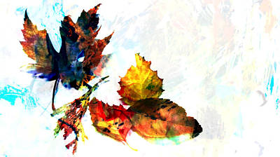 Photograph - Painted Leaves Abstract 2 by Anita Burgermeister