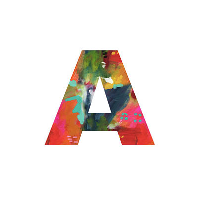 Painting - Painted Letter A -monogram Art By Linda Woods by Linda Woods