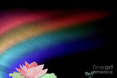 Mixed Media - Painted Lotus Under Rainbow by Marsha Heiken