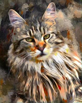 Coon Cat Digital Art - Painted Main Coon Cat by Scott Wallace