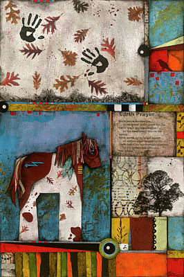 Crows Mixed Media - Painted Mare, Oak, War Pony  by Laura Lein-Svencner