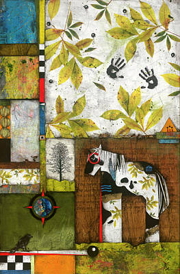 Squares Mixed Media - Painted Mare, Shaggy Bark Hickory  by Laura Lein-Svencner