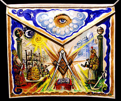 Painting - Painted Masonic Apron, Building A Civilization by Ari Roussimoff