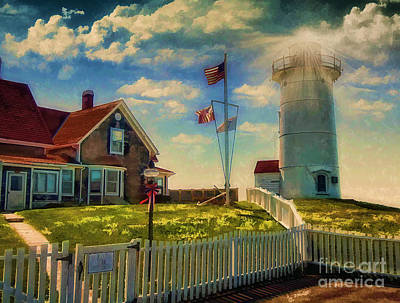 Photograph - Painted Nobska Lighthouse On Cape Cod by Gina Cormier