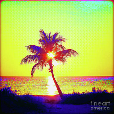 Surf Lifestyle Mixed Media - Painted Palm Sunset by Chris Andruskiewicz