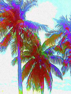Surf Lifestyle Mixed Media - Painted Palms IIi by Chris Andruskiewicz