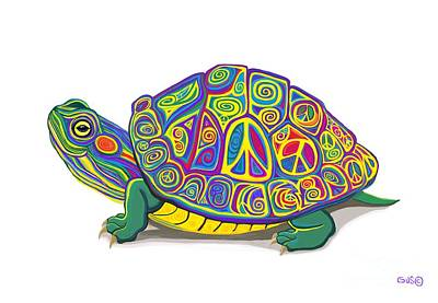 Digital Art - Painted Peace Turtle by Nick Gustafson