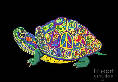 Digital Art - Painted Peace Turtle Too by Nick Gustafson