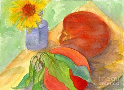 Painting - Painted Peaches And A Daisy by Cathie Richardson