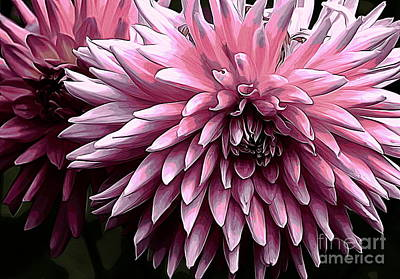 Photograph - Painted Pink Dahlia by Erica Hanel