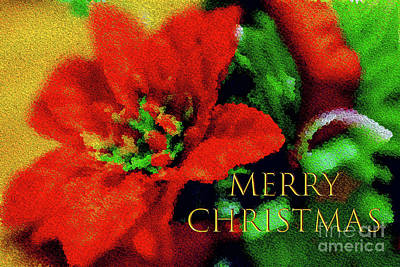 Painted Poinsettia Merry Christmas Art Print by Sandy Moulder