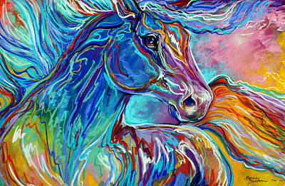 Horse Pastels Painting - Painted Pony Abstract In Pastel by Marcia Baldwin