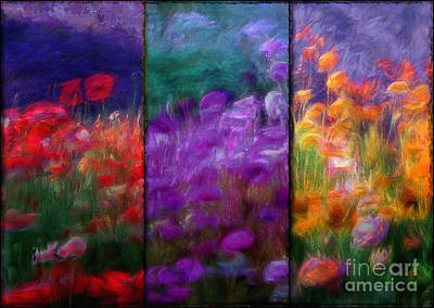 Orange Poppy Painting - Painted Poppies Triptych by Mindy Sommers