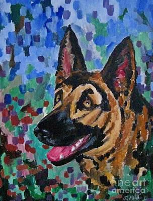 Water Droplets Sharon Johnstone - Painted Portrait of German Shepherd by John Malone