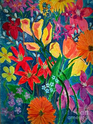 Clematis Painting - Painted Posies by Anne Sands