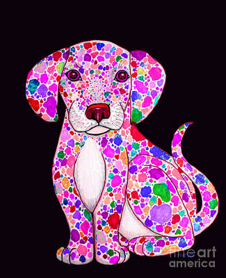 Dalmation Drawing - Painted Puppy 3 by Nick Gustafson