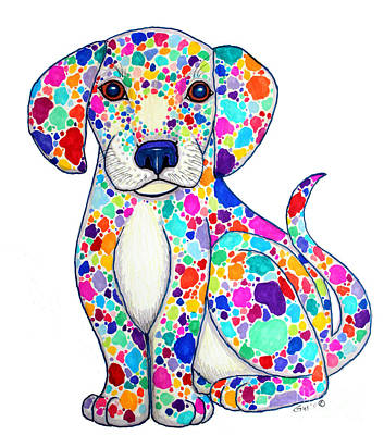 Animals Drawings - Painted Puppy by Nick Gustafson