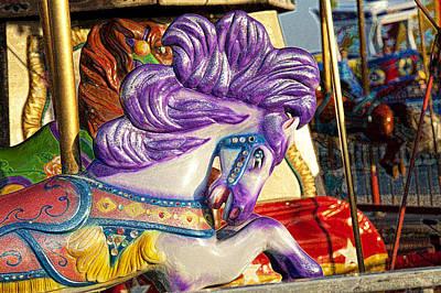 Carousel Pony Photograph - Painted Purple Pony by Toni Hopper