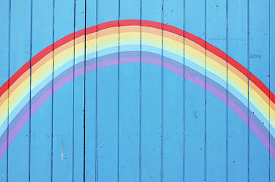 Painted Rainbow On Wooden Fence Art Print by Richard Newstead