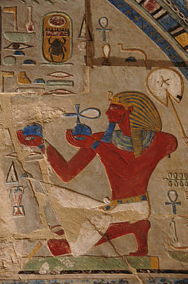 Thebes Photograph - Painted Relief Of Thutmosis IIi by Kenneth Garrett