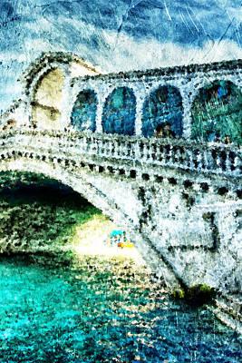 Venezia Digital Art - Painted Rialto by Andrea Barbieri
